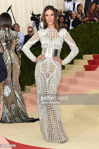"""Alessandra Ambrosio attends the """"Manus x Machina: Fashion In An Age Of Technology"""" Costume Institute Gala at Metropolitan Museum of Art on May 2,..."""
