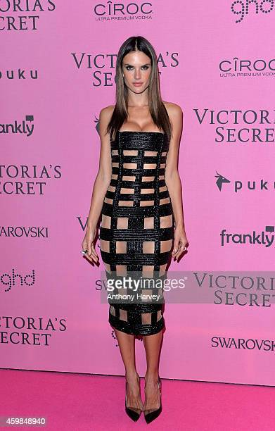 Alessandra Ambrosio attends the pink carpet of the 2014 Victoria's Secret Fashion Show on December 2 2014 in London England