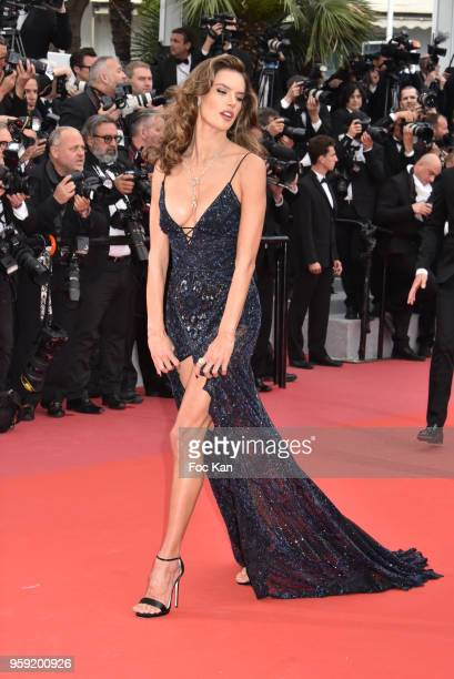 Alessandra Ambrosio attends the screening of 'Solo A Star Wars Story' during the 71st annual Cannes Film Festival at Palais des Festivals on May 15...