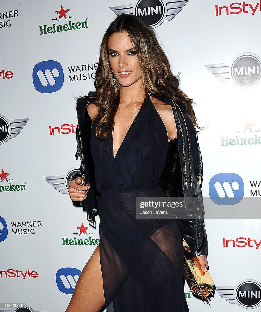Alessandra Ambrosio attends the Warner Music Group 2013 Grammy celebration at Chateau Marmont on February 10, 2013 in Los Angeles, California.