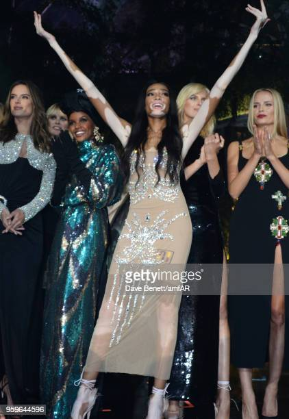 Alessandra Ambrosio Halima Aden Winnie Harlow Karolina Kurkova and Natasha Poly attend the amfAR Gala Cannes 2018 at Hotel du CapEdenRoc on May 17...