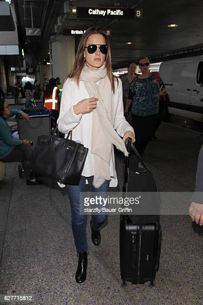 Alessandra Ambrosio is seen at LAX on December 04 2016 in Los Angeles California