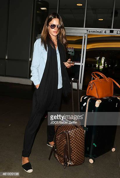 Alessandra Ambrosio is seen at LAX on January 10, 2015 in Los Angeles, California.