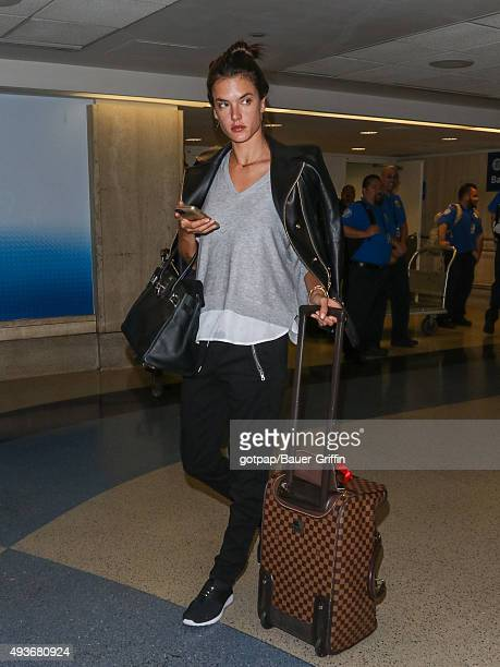 Alessandra Ambrosio is seen at Los Angeles International Airport on October 21 2015 in Los Angeles California