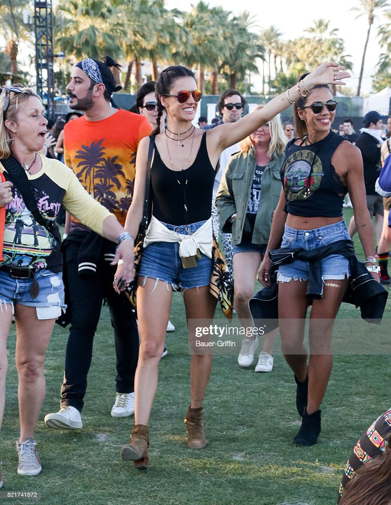 Alessandra Ambrosio is seen at The Coachella Valley Music and Arts Festival on April 16, 2016 in Los Angeles, California.