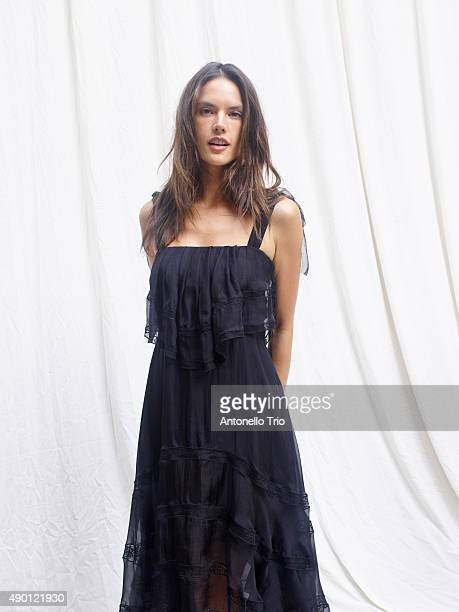Alessandra Ambrosio is seen backstage ahead of the Philosophy di Lorenzo Serafini show during Milan Fashion Week Spring/Summer 2016 on September 25...