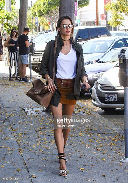 Alessandra Ambrosio is seen leaving lunch at Gracias Madre on April 12 2016 in Los Angeles California