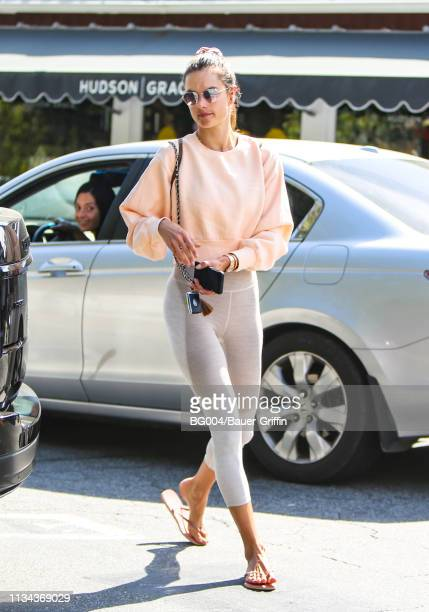 Alessandra Ambrosio is seen on April 01 2019 in Los Angeles California