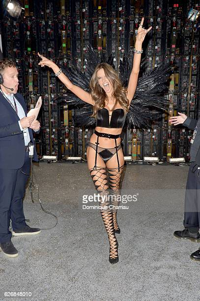 Alessandra Ambrosio poses backstage during the Victoria's Secret Fashion Show on November 30 2016 in Paris France