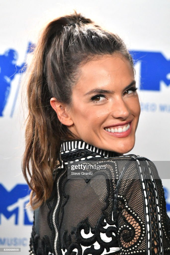 Alessandra Ambrosio poses in the press room during the 2017 MTV Video Music Awards at The Forum on August 27, 2017 in Inglewood, California.