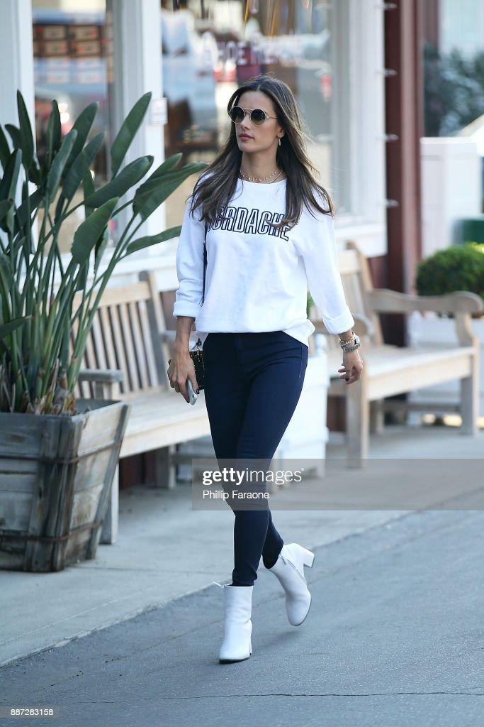 Alessandra Ambrosio seen wearing Jordache on December 6, 2017 in Santa Monica, California.
