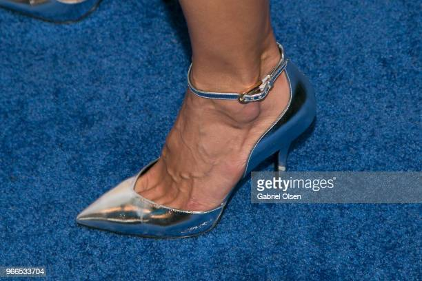 Alessandra Ambrosio shoe detail arrives for iHeartRadio's KIIS FM Wango Tango By ATT at Banc of California Stadium on June 2 2018 in Los Angeles...