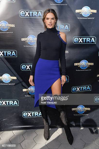 Alessandra Ambrosio visits 'Extra' at Universal Studios Hollywood on December 2 2016 in Universal City California