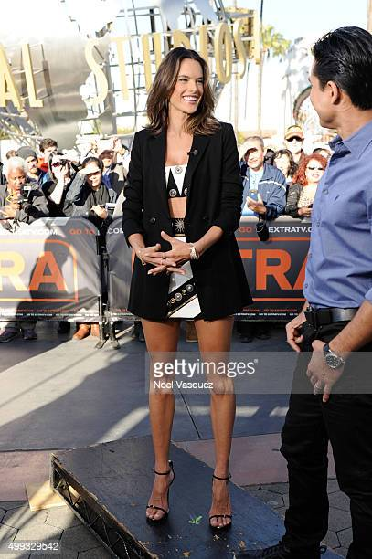 Alessandra Ambrosio visits 'Extra' at Universal Studios Hollywood on November 30 2015 in Universal City California