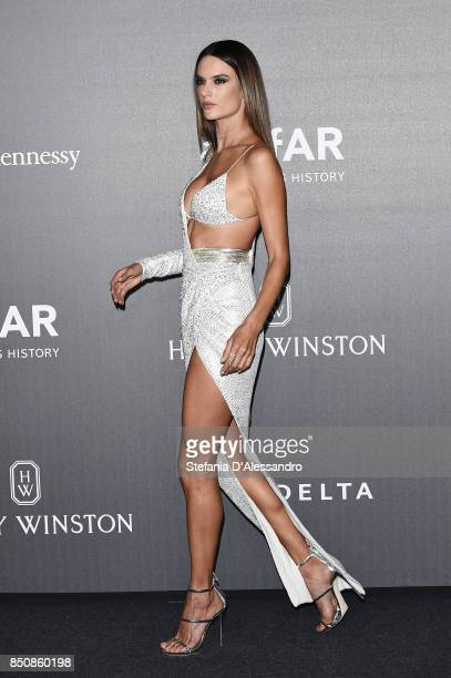 Alessandra Ambrosio walks the red carpet of amfAR Gala Milano on September 21 2017 in Milan Italy
