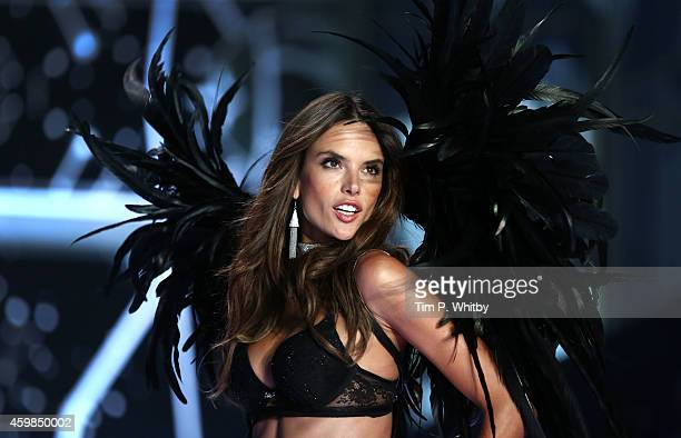 Alessandra Ambrosio walks the runway at the annual Victoria's Secret fashion show at Earls Court on December 2, 2014 in London, England.