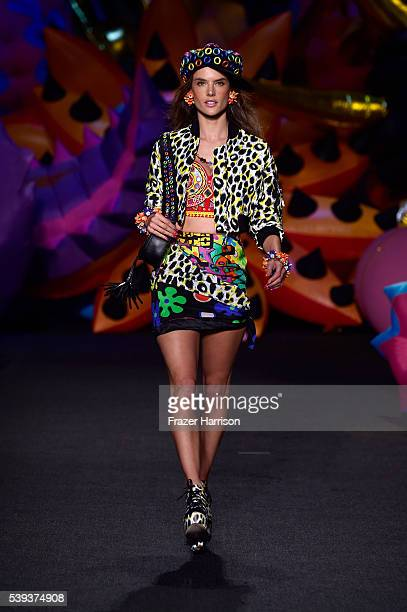 Alessandra Ambrosio walks the runway at the Moschino Spring/Summer 17 Menswear and Women's Resort Collection during MADE LA at LA LIVE Event Deck on...