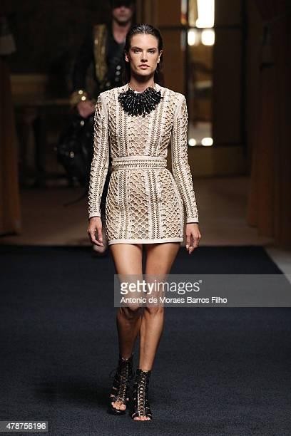 Alessandra Ambrosio walks the runway during the Balmain Menswear Spring/Summer 2016 show as part of Paris Fashion Week on June 27 2015 in Paris France