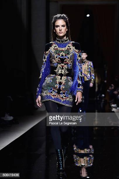 Alessandra Ambrosio walks the runway during the Balmain Menswear Fall/Winter 20162017 show as part of Paris Fashion Week on January 23 2016 in Paris...