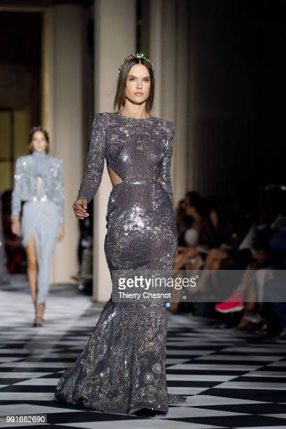 Alessandra Ambrosio walks the runway during the Zuhair Murad Haute Couture Fall Winter 2018/2019 show as part of Paris Fashion Week on July 4 2018 in...
