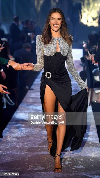 Alessandra Ambrosio wearing Balmain walks the runway at the amfAR Gala Cannes 2018 at Hotel du CapEdenRoc on May 17 2018 in Cap d'Antibes France