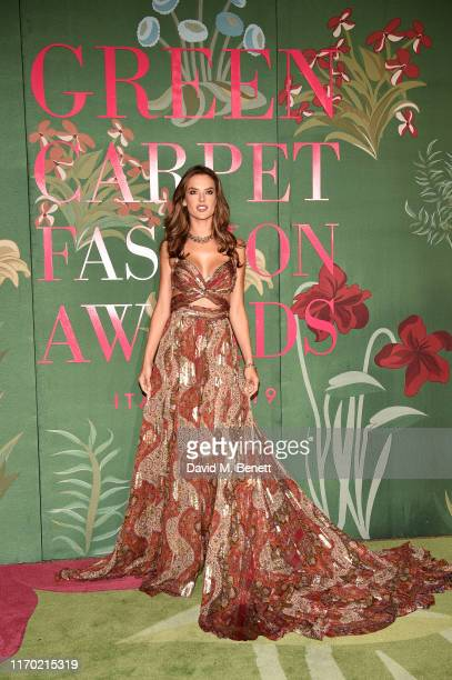 Alessandra Ambrosio wearing ETRO attends The Green Carpet Fashion Awards, Italia 2019, hosted by CNMI & Eco-Age, at Teatro Alla Scala on September...
