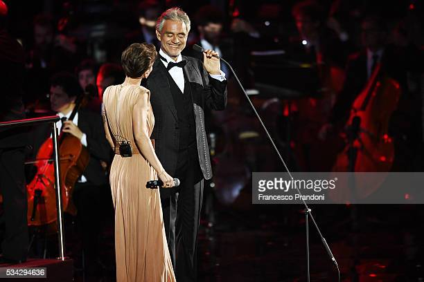 Alessandra Amoroso and Andrea Bocelli perform at Bocelli and Zanetti Night on May 25 2016 in Rho Italy