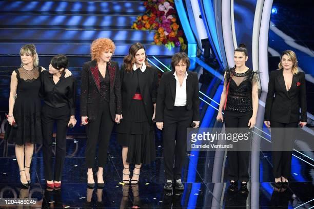 Alessandra Amoroso Giorgia Fiorella Mannoia Laura Pausini Gianna Nannini Elisa and Emma Marrone attend the 70° Festival di Sanremo at Teatro Ariston...