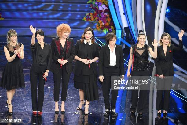 Alessandra Amoroso Giorgia Fiorella Mannoia Laura Pausini Gianna Nannini Elisa and Emma Marrone attend the 70° Festival di Sanremo at Teatro Ariston...