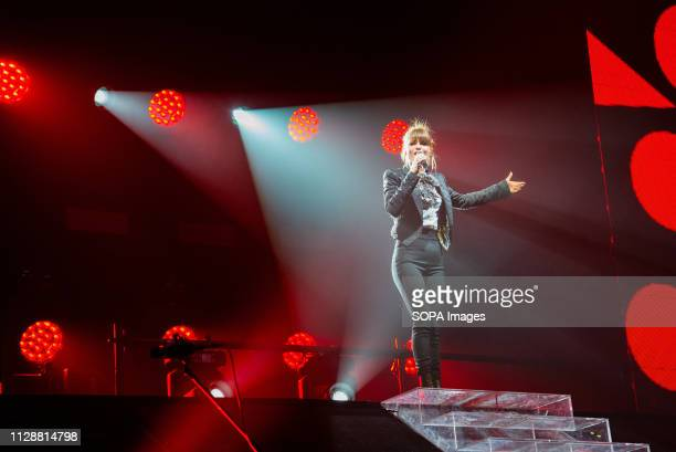 Alessandra Amoroso Italian singer songwriter seen performing live during their 10th music Tour at Pala Alpitour in Torino Italy