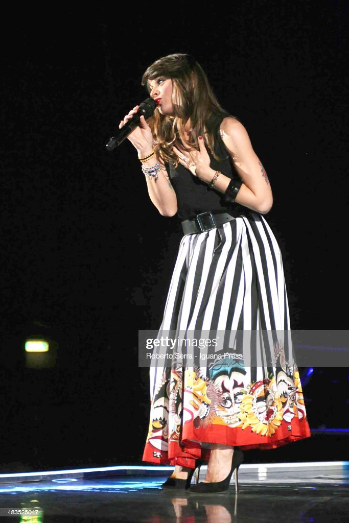 Alessandra Amoroso performs his concert at Unipol Arena on April 5, 2014 in Bologna, Italy.