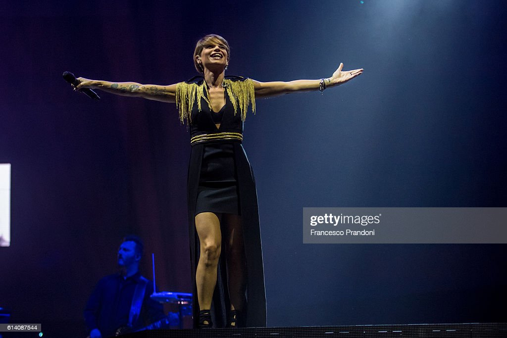 Alessandra Amoroso performs on stage on October 11, 2016 in Milan, Italy.