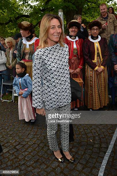 Alessandra Borghese arrives for the wedding of Maria Theresia Princess von Thurn und Taxis and Hugo Wilson at St Joseph Church in Tutzing on...