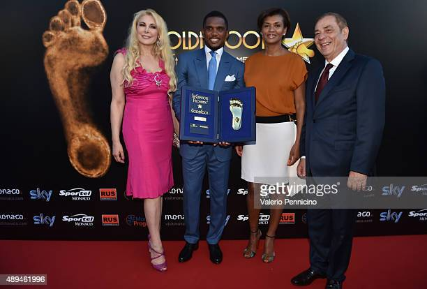 Alessandra Canale Samuel Eto'o his wife and Antonio Caliendo attend the Golden Foot award ceremony at Fairmont Hotel on September 21 2015 in Monaco...