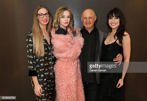 Alessandra Casadei Portia Freeman Cesare Casadei and Daisy Lowe attend the Casadei cocktail party celebrating the opening of the Casadei London...