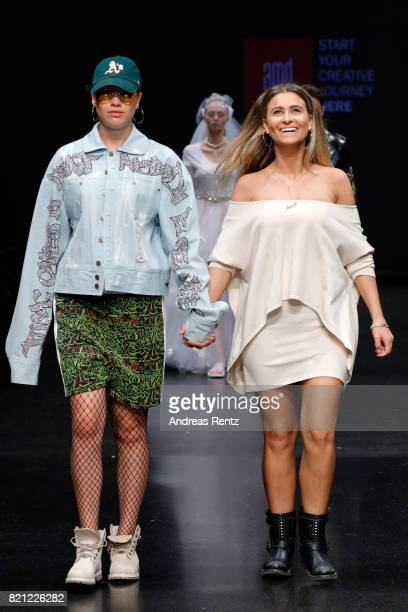 Alessandra Cirmia acknowledges the audience's applause on the runway at end of the the AMD Exit17_2 show during Platform Fashion July 2017 at Areal...
