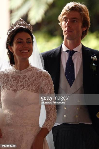 Alessandra de Osma and Prince Christian of Hanover after the wedding of Prince Christian of Hanover and Alessandra de Osma at Basilica San Pedro on...