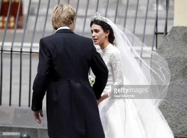 Alessandra de Osma and Prince Christian of Hanover leave the church after their wedding at Basilica San Pedro on March 16 2018 in Lima Peru