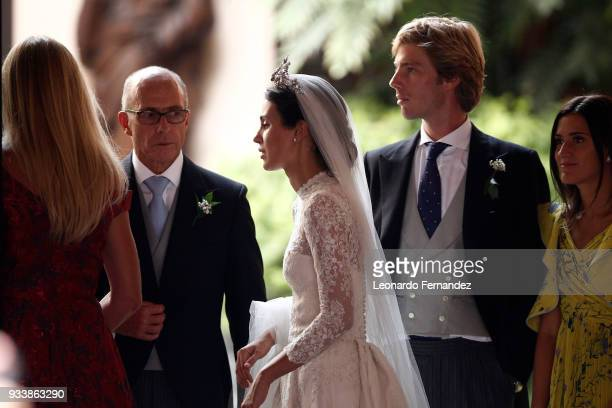 Alessandra de Osma and Prince Christian of Hanover next to the bride's father Felipe de Osma Berckemeyer after the wedding of Prince Christian of...