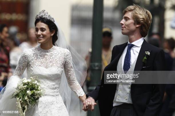 Alessandra de Osma and Prince Christian of Hanover walk after their wedding of Prince Christian of Hanover and Alessandra de Osma at Basilica San...