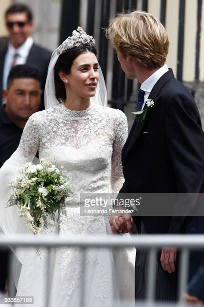 Alessandra de Osma and Prince Christian of Hanover walk out of the church after their wedding at Basilica San Pedro on March 16 2018 in Lima Peru