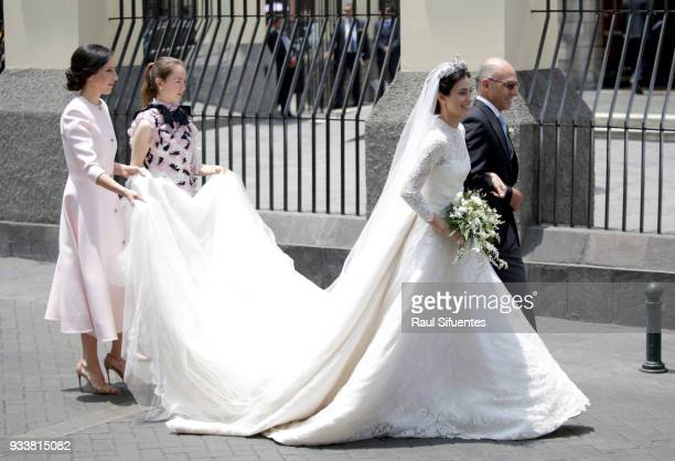 Alessandra de Osma arrives with father Ernesto de Osma to her wedding with Prince Christian of Hanover at Basilica San Pedro on March 16 2018 in Lima...