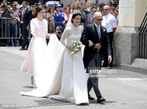 Alessandra de Osma arrives with father Felipe de Osma to her wedding with Prince Christian of Hanover at Basilica San Pedro on March 16 2018 in Lima...