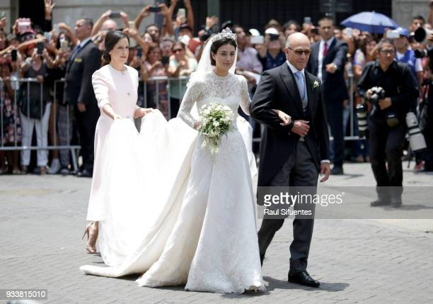 Alessandra de Osma arrives with her father Felipe de Osma to her wedding with Prince Christian of Hanover at Basilica San Pedro on March 16 2018 in...