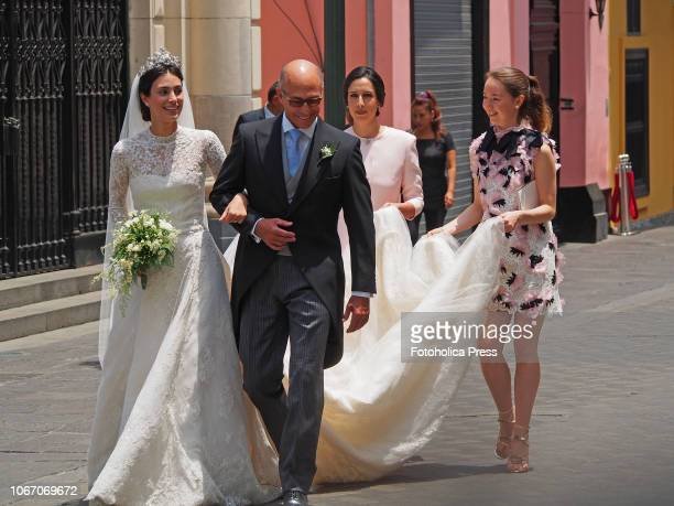 Alessandra de Osma her father Felipe de Osma and Princess Alexandra of Hanover arriving to the royal wedding with Christian of Hanover