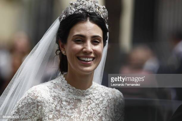 Alessandra de Osma smiles after the wedding of Prince Christian of Hanover and Alessandra de Osma at Basilica San Pedro on March 16 2018 in Lima Peru