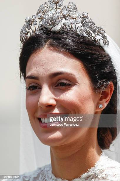 Alessandra de Osma smiles during her wedding to Prince Christian of Hanover at Basilica San Pedro on March 16 2018 in Lima Peru