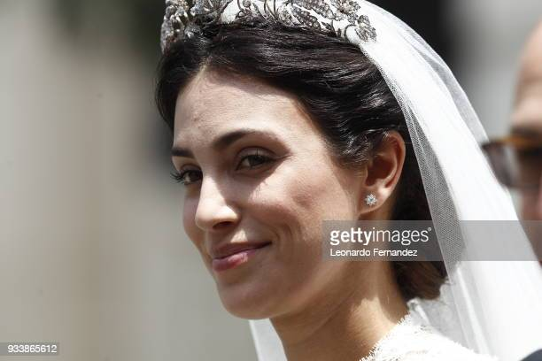 Alessandra de Osma smiles during the wedding of Prince Christian of Hanover and Alessandra de Osma at Basilica San Pedro on March 16 2018 in Lima Peru