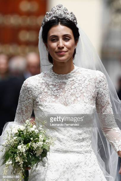Alessandra de Osma walks out of the church after the wedding of Prince Christian of Hanover and Alessandra de Osma at Basilica San Pedro on March 16...