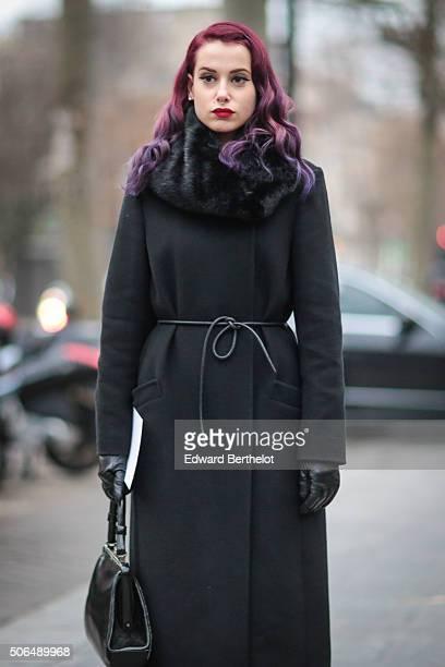 Alessandra Faja wearing a Jaeger coat before the Balmain show during Paris Fashion Week Menswear Fall Winter 2016/2017 on January 23 2016 in Paris...